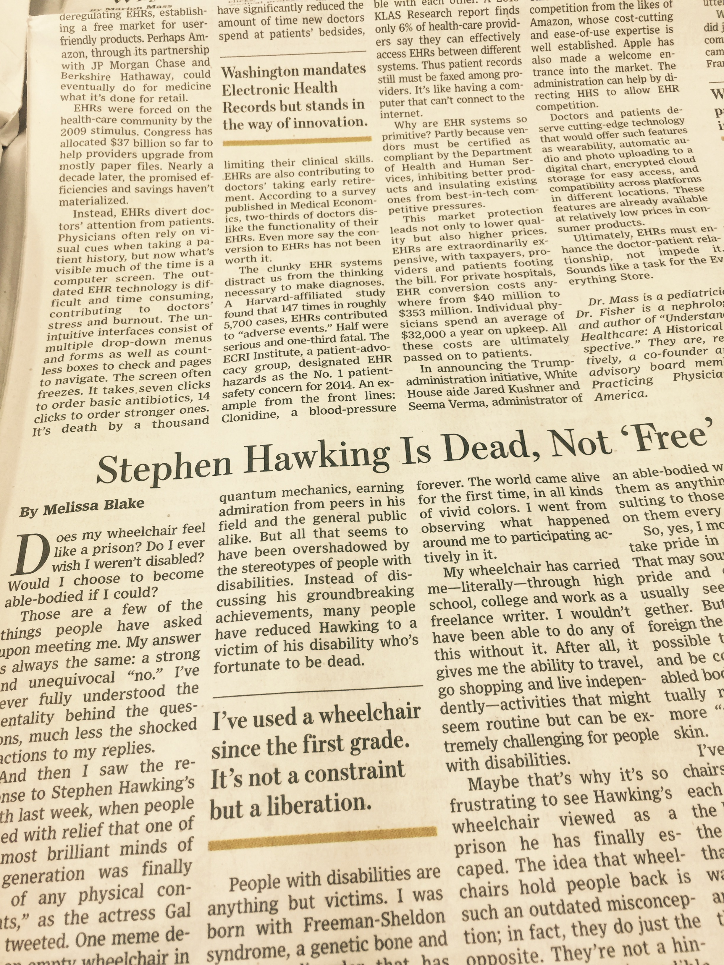 My Essay In The Wall Street Journal:
